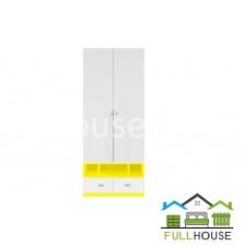 Шкаф платяной Моби  REG1D2S белый с желтым